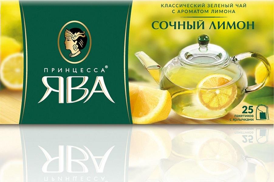 Чай ПРИНЦЕССА ЯВА Сочный лимон зеленый аром. лимон с добав. лимон (1.50гx25п)